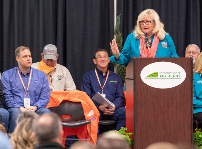 Connie Conway kicks off the opening ceremonies for World Ag Expo at the International Agri-Center in Tulare on Tuesday, February 12, 2019.
