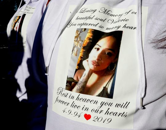Mourners wear sweatshirts memorializing  Valerie Reyes outside St. Gabriel's Church in New Rochelle on  Feb. 13, 2019 before the funeral of Reyes, the New Rochelle woman whose body was found in a suitcase in Greenwich, Connecticut, last week.
