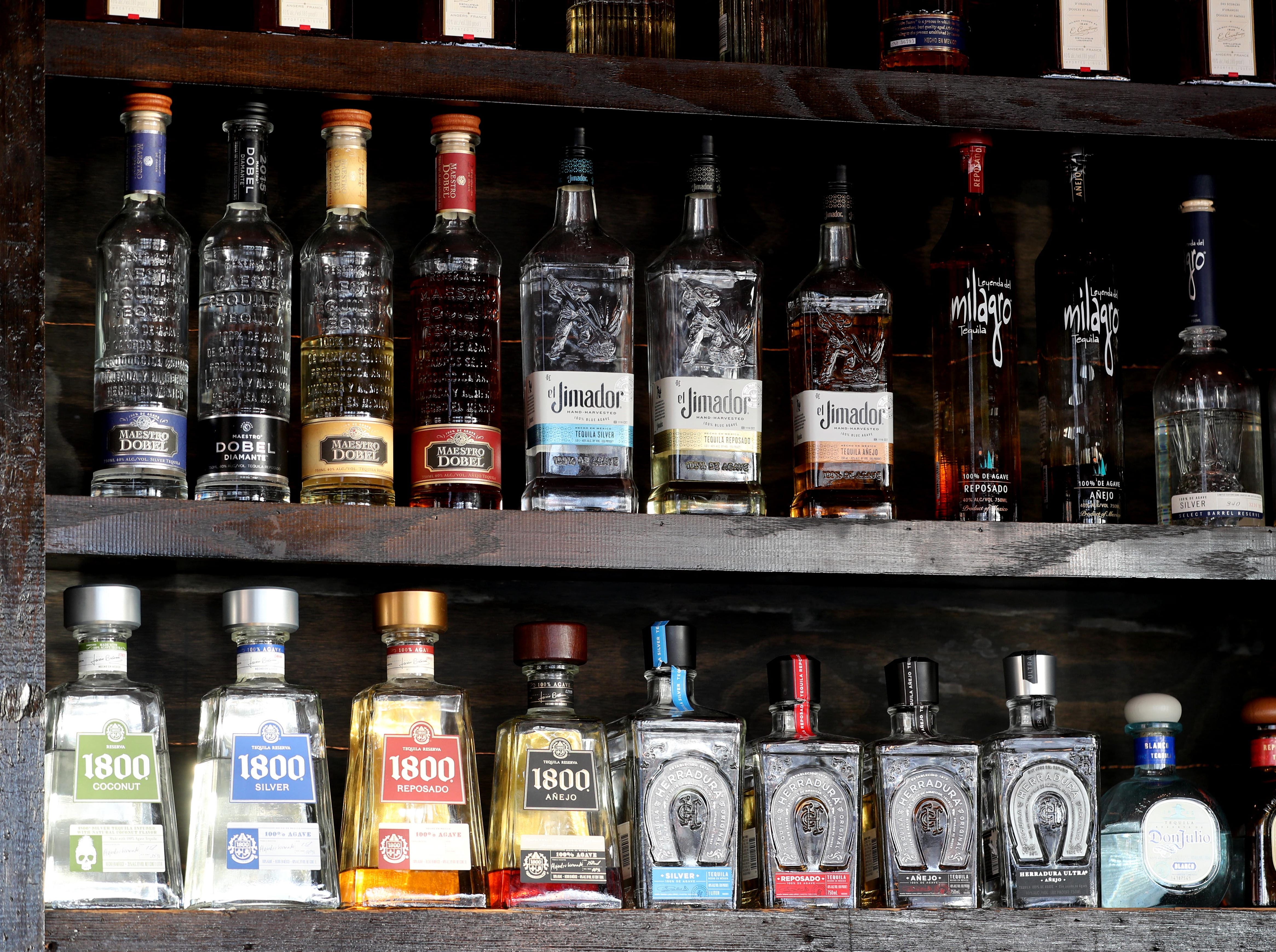 A selection of tequilas at Margarita at Taco Dive Bar in Peekskill, photographed Feb. 13, 2019. Taco Dive Bar offers over fifty different tequilas. National Margarita Day is Feb. 22nd.