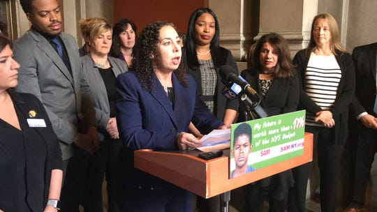 Stephanie Marquesano, an Ardsley attorney and founder of the harris project, speaks out against marijuana legalization at the state Capitol on Mon., Feb. 11, 2019.