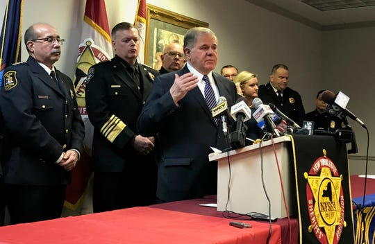 Peter Kehoe, executive director of state Sheriffs' Association, speaks at a news conference in Albany on Feb. 7, 2019, about law enforcement's concerns with legalizing recreational marijuana in New York.