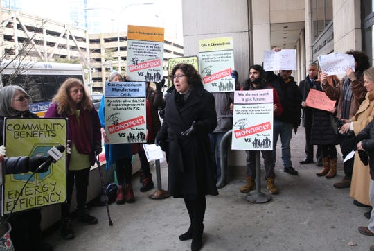 County legislator MaryJane Shimsky  speaks to the crowd before the Public Service Commission's hearing on the Con Edison gas moratorium at the White Plains Pubic Library Feb. 13,  2019.