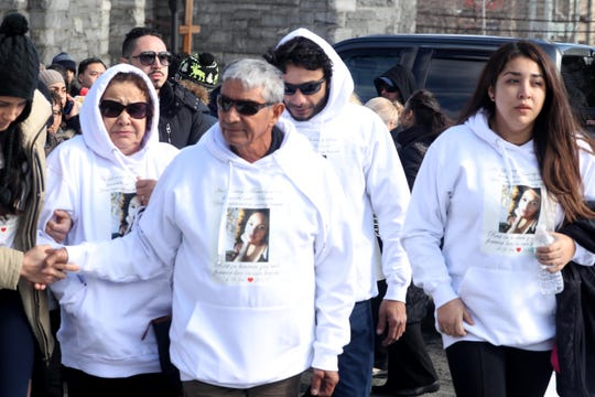 Graciella and Jose Sanchez, the grandparents of Valerie Reyes leave St. Gabriel's Church in New Rochelle with other family members Feb. 13, 2019 after the funeral of Reyes, the New Rochelle woman whose body was found in a suitcase in Greenwich, Conn. last week.