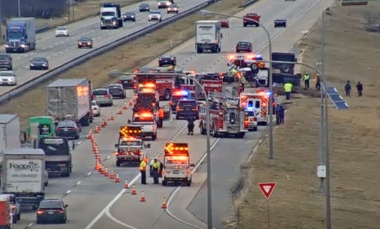 First responders are on scene at a rollover on I-495 near the 12th Street exit on Wednesday afternoon