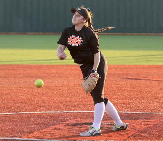 Burkburnett's Jocelyn Bright pitches against Rider Tuesday, Feb. 12, 2019, at the Sunrise Optimist Softball Complex.
