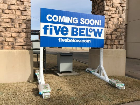 A sign posted along Lawrence Road states that national retailer Five Below will be coming to Wichita Falls in the Quail Creek Shopping Center.