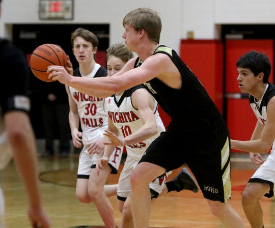 Rider's Ben Moffat passes in the game against Wichita Falls High School Tuesday, Feb. 12, 2019, at Old High.