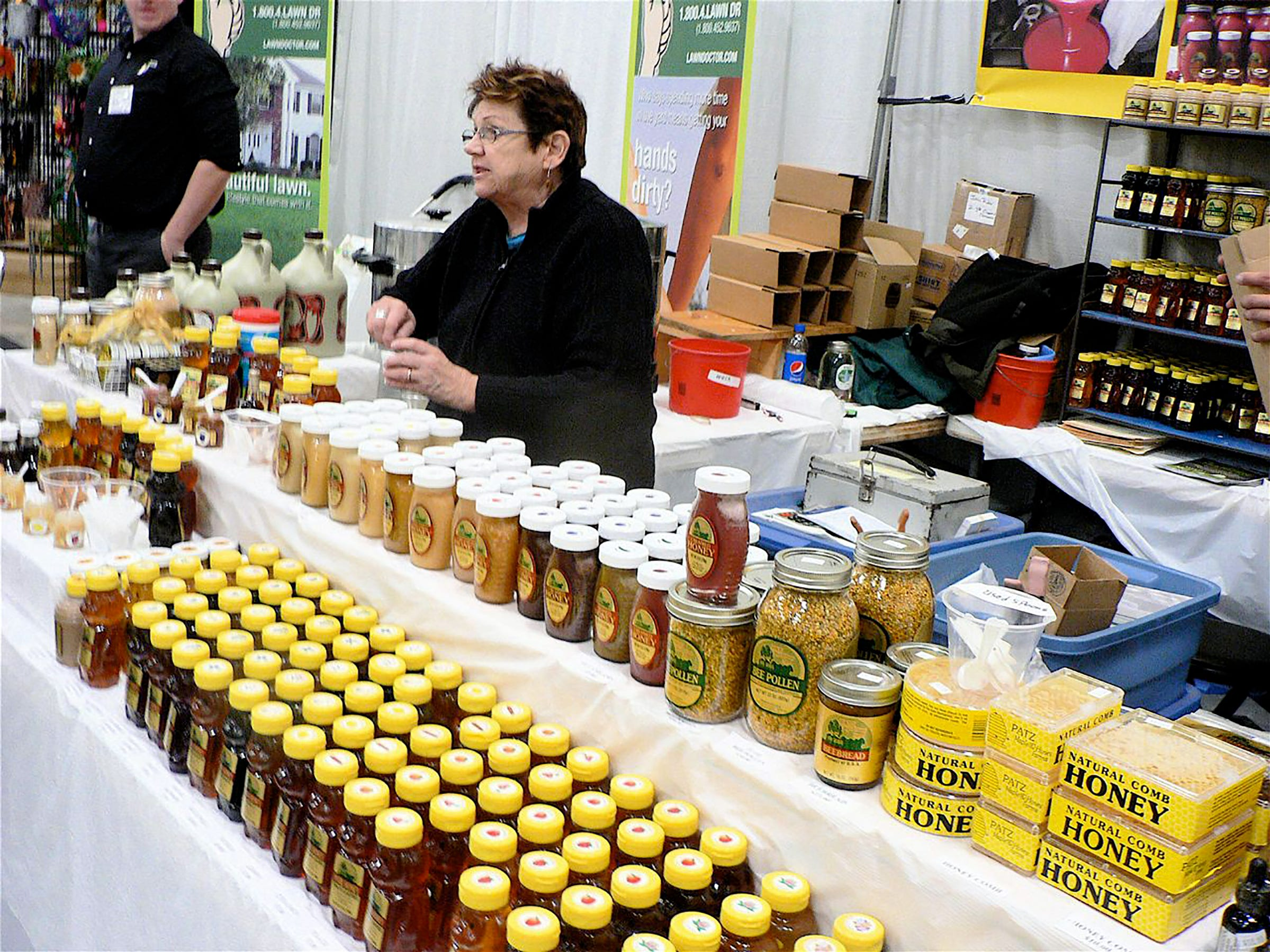 Maple and honey products of all kinds at the Patz Maple and Honey Farms display.