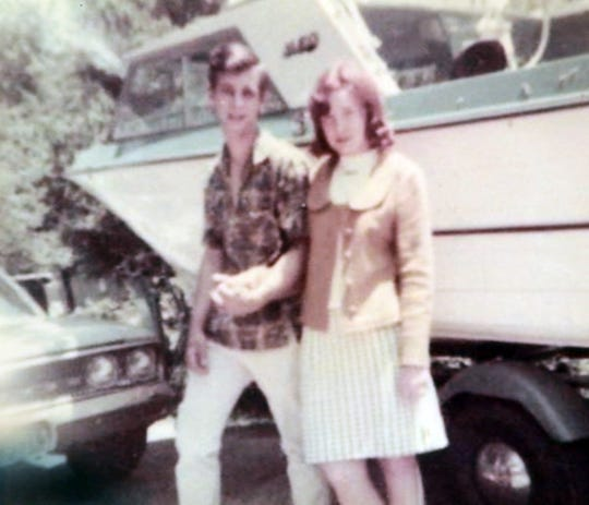 Florence and Darrel Spencer in a family picture from when they were in high school. They have been married 50 years.
