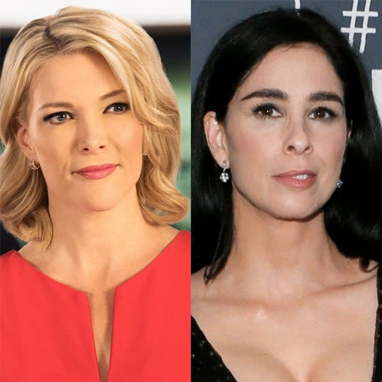 Megyn Kelly, left, and Sarah Silverman got into a heated exchange on Twitter over a NSFW tweet Silverman penned about Trump.