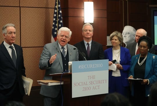 Rep. John Larson and colleagues reintroduce the Social Security 2100 Act on Jan. 30, 2019.