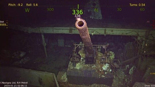 The wreck of the USS Hornet was recently discovered in the South Pacific. Here' one of its 5-inch guns is pictured.