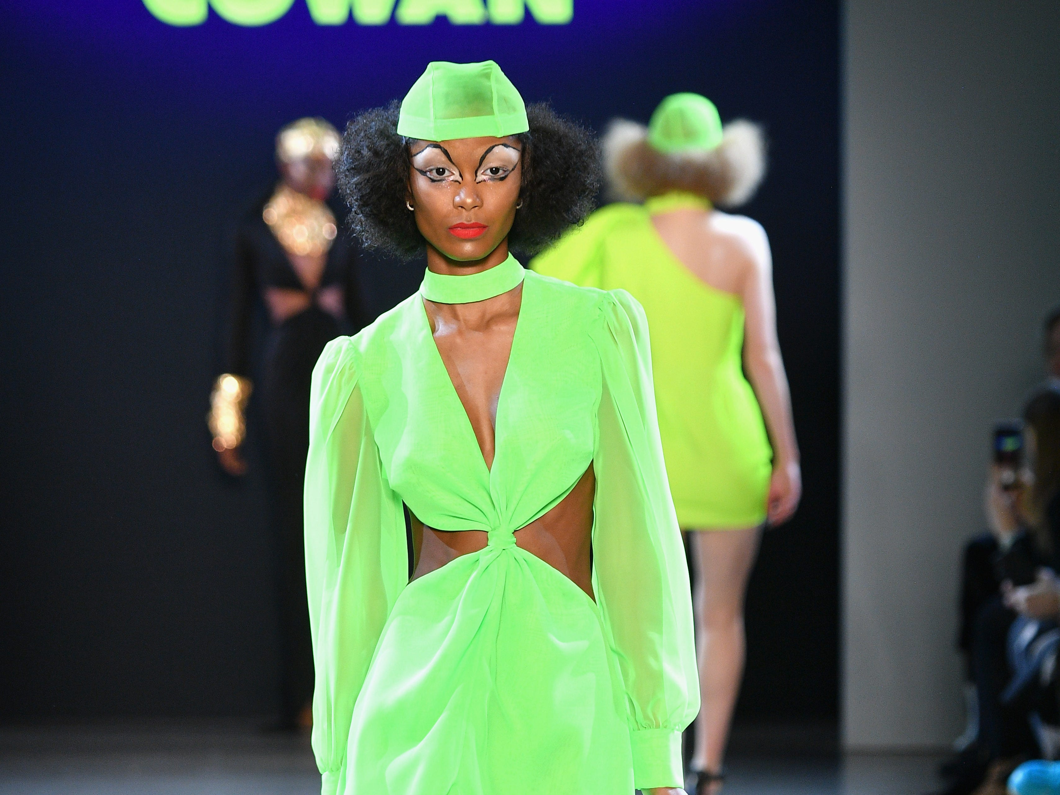 NEW YORK, NY - FEBRUARY 12:  A model walks the runway for the Christian Cowan fashion show during New York Fashion Week: The Shows at Gallery II at Spring Studios on February 12, 2019 in New York City.  (Photo by Dia Dipasupil/Getty Images for NYFW: The Shows) ORG XMIT: 775290958 ORIG FILE ID: 1124278381