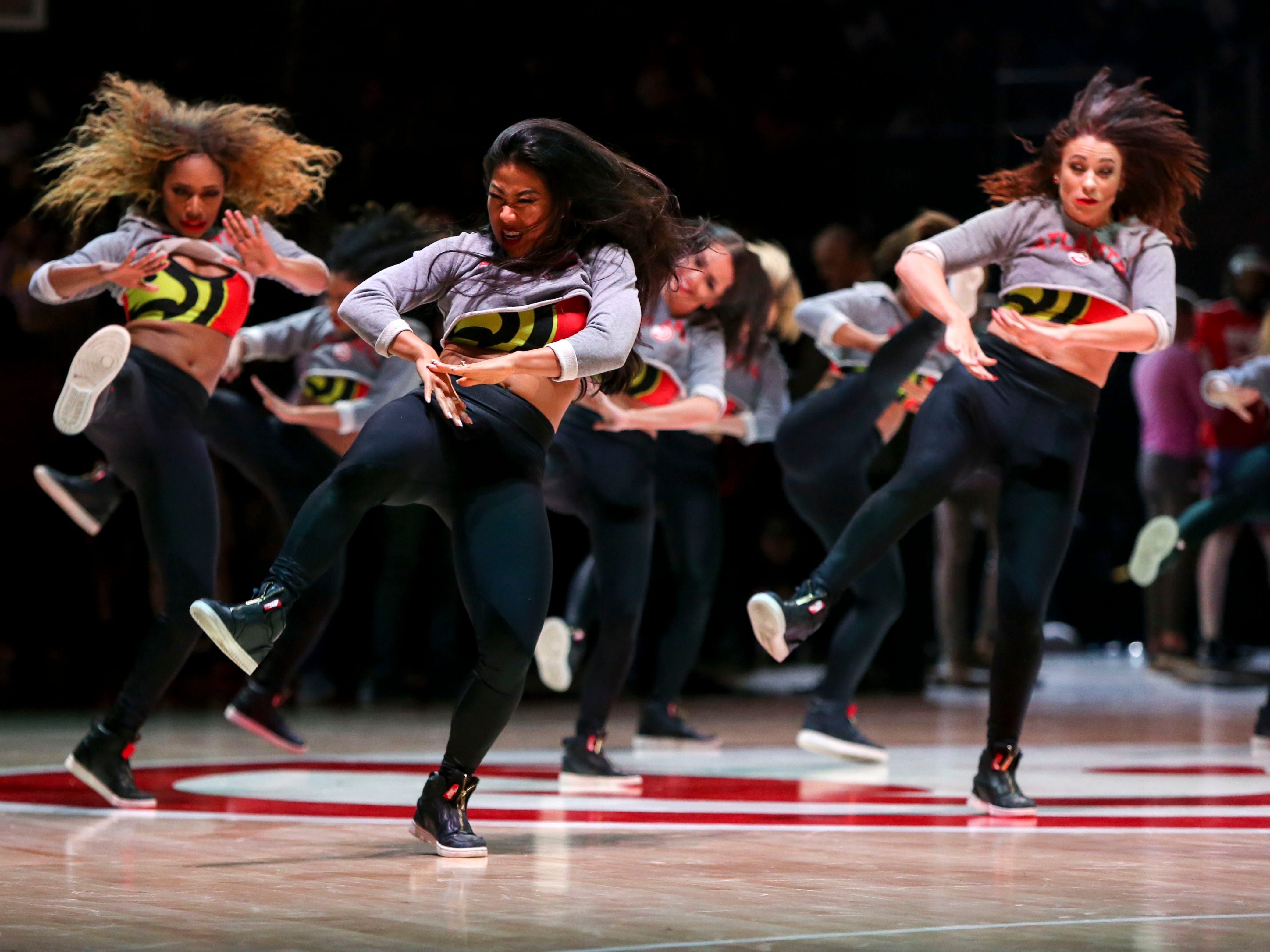 Feb. 12: Atlanta Hawks cheerleaders perform during the game against the Los Angeles Lakers at State Farm Arena.