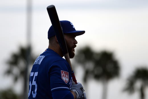 Feb. 13: Dodgers catcher Russell Martin looks on during a workout at the Camelback Ranch practice fields.