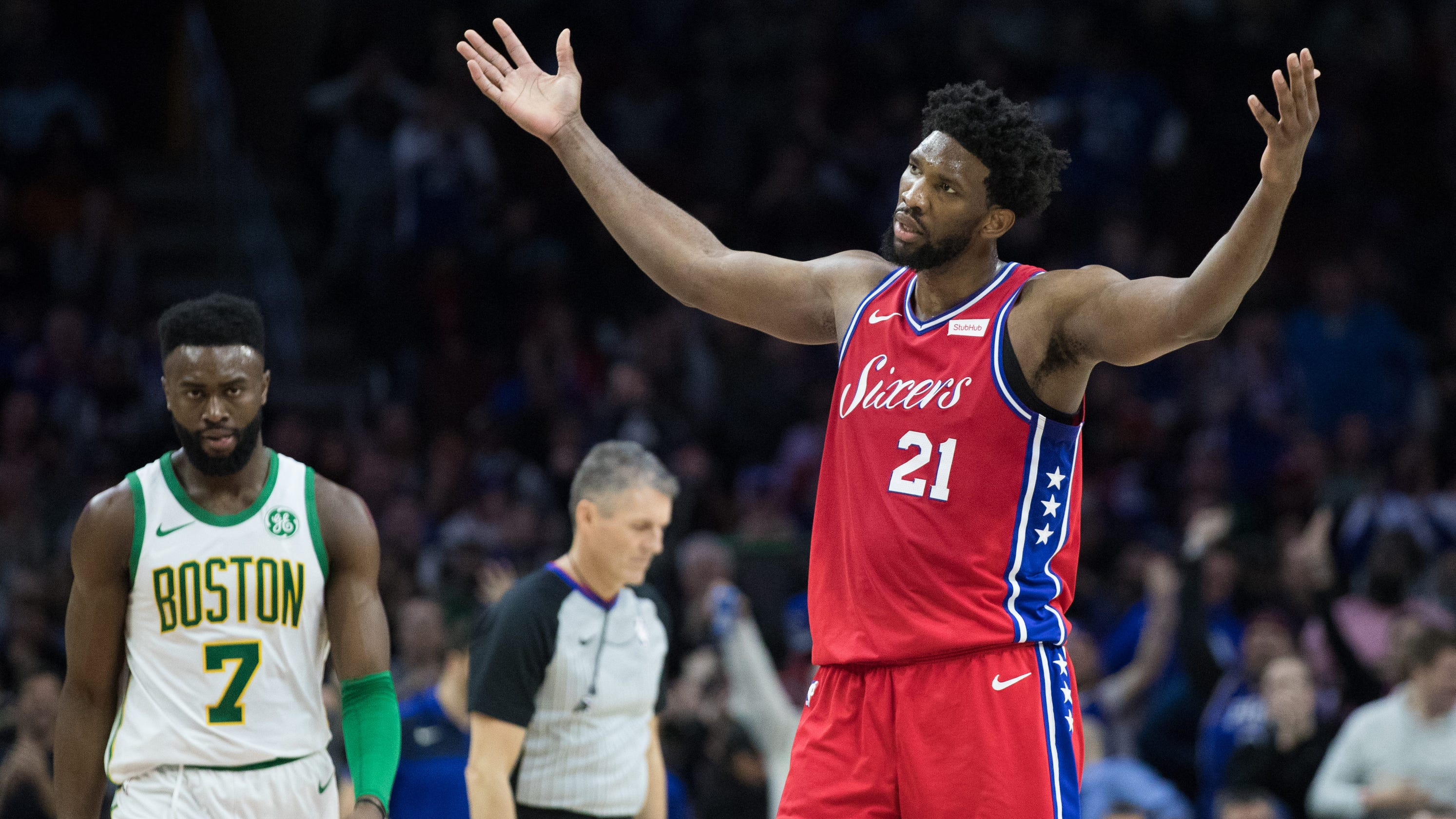 3872fb223c5c Joel Embiid after 76ers  loss to Celtics   Referees (expletive) sucked