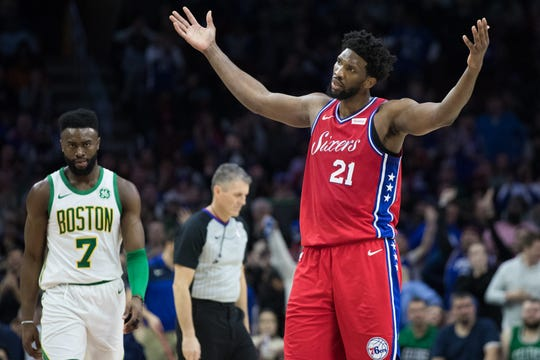 Philadelphia 76ers center Joel Embiid (21) reacts against the Boston Celtics.