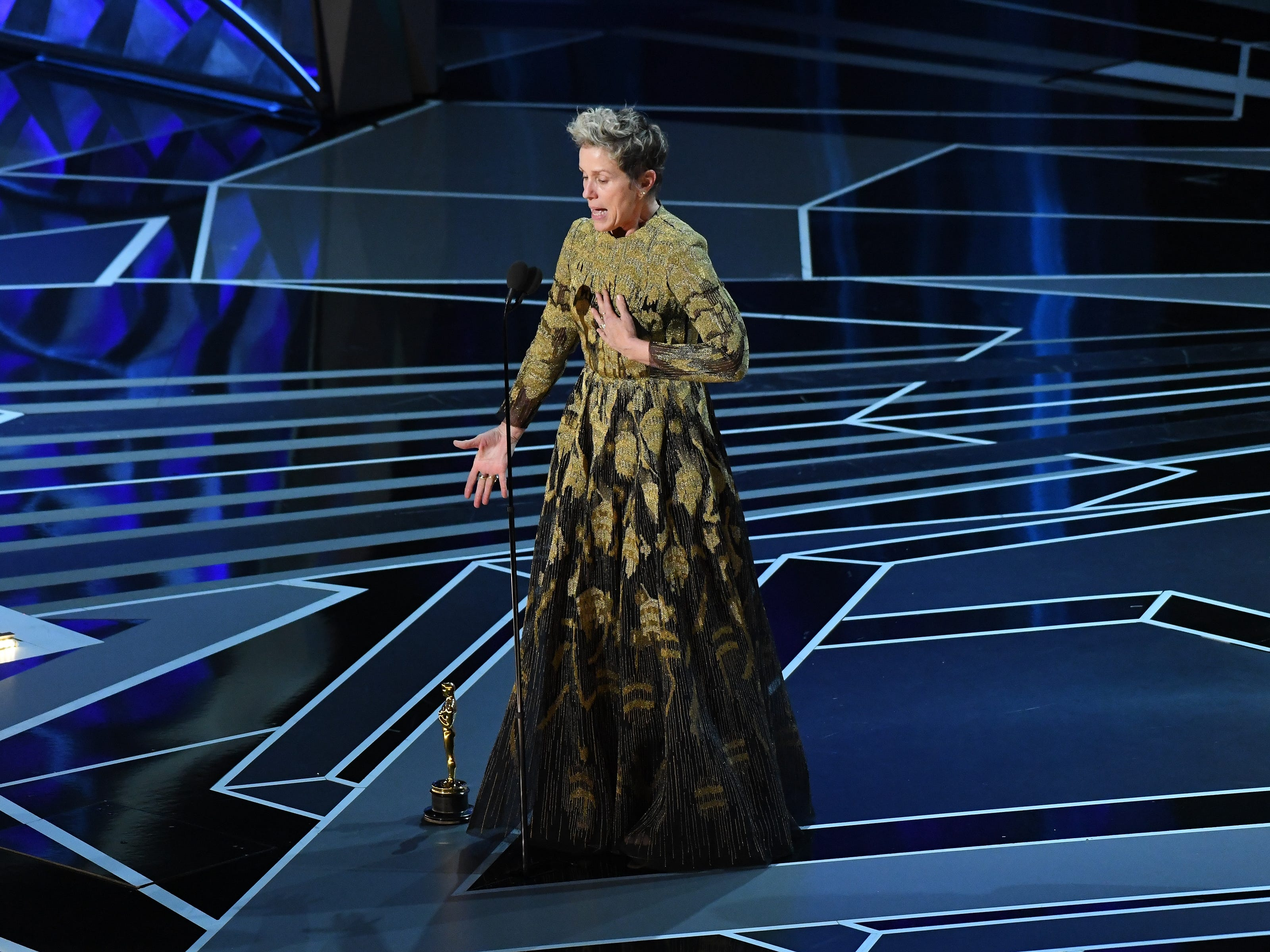 "March 4, 2018; Hollywood, CA, USA; Frances McDormand accepts the Oscar for performance by an actress in a leading role for ""Three Billboards outside Ebbing, Missouri"" during the 90th Academy Awards at Dolby Theatre. Mandatory Credit: Robert Deutsch-USA TODAY NETWORK (Via OlyDrop)"