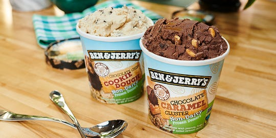 Ben & Jerry's has added two new flavors to its non-dairy vegan lineup: Chocolate Chip Cookie Dough and Chocolate Caramel Cluster. The frozen desserts are now available nationwide.