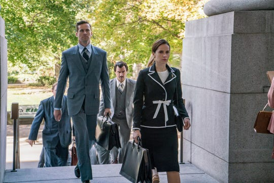 "Felicity Jones plays Ruth Bader Ginsburg in her days as a Supreme Court litigator in the new film, ""On the Basis of Sex."""