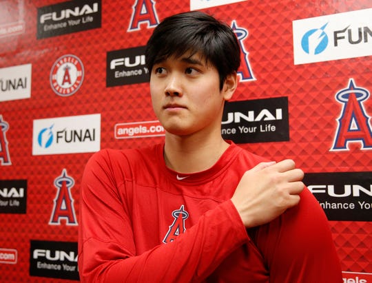 Ohtani addresses the media Wednesday in Tempe.