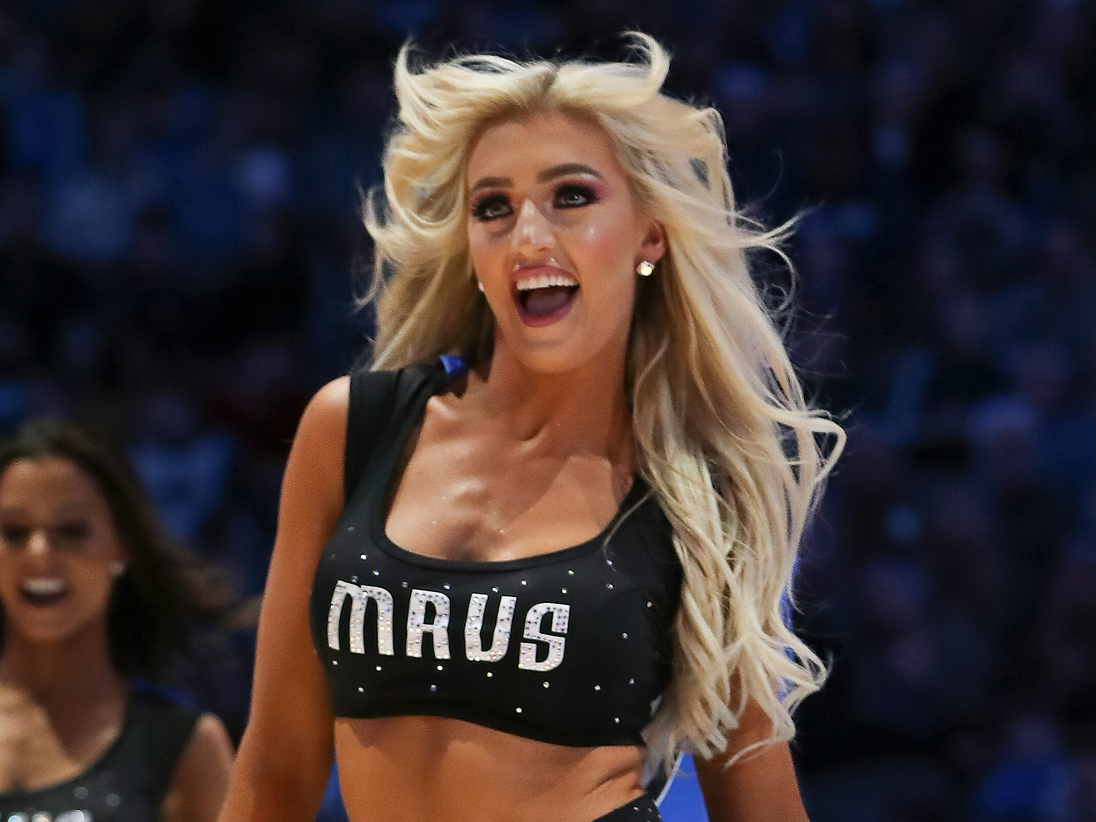 Feb. 10: A Dallas Mavericks dancer performs during the game against the Portland Trail Blazers at American Airlines Center.