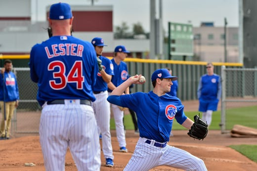 Feb. 13: Cubs pitchers in action during a workout at Sloan Park.