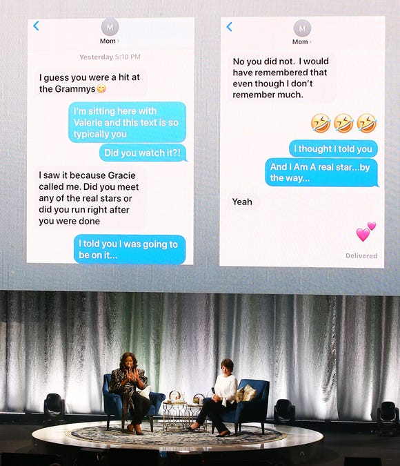 Former first lady Michelle Obama shares a text exchange between her and her mother on Grammys night.