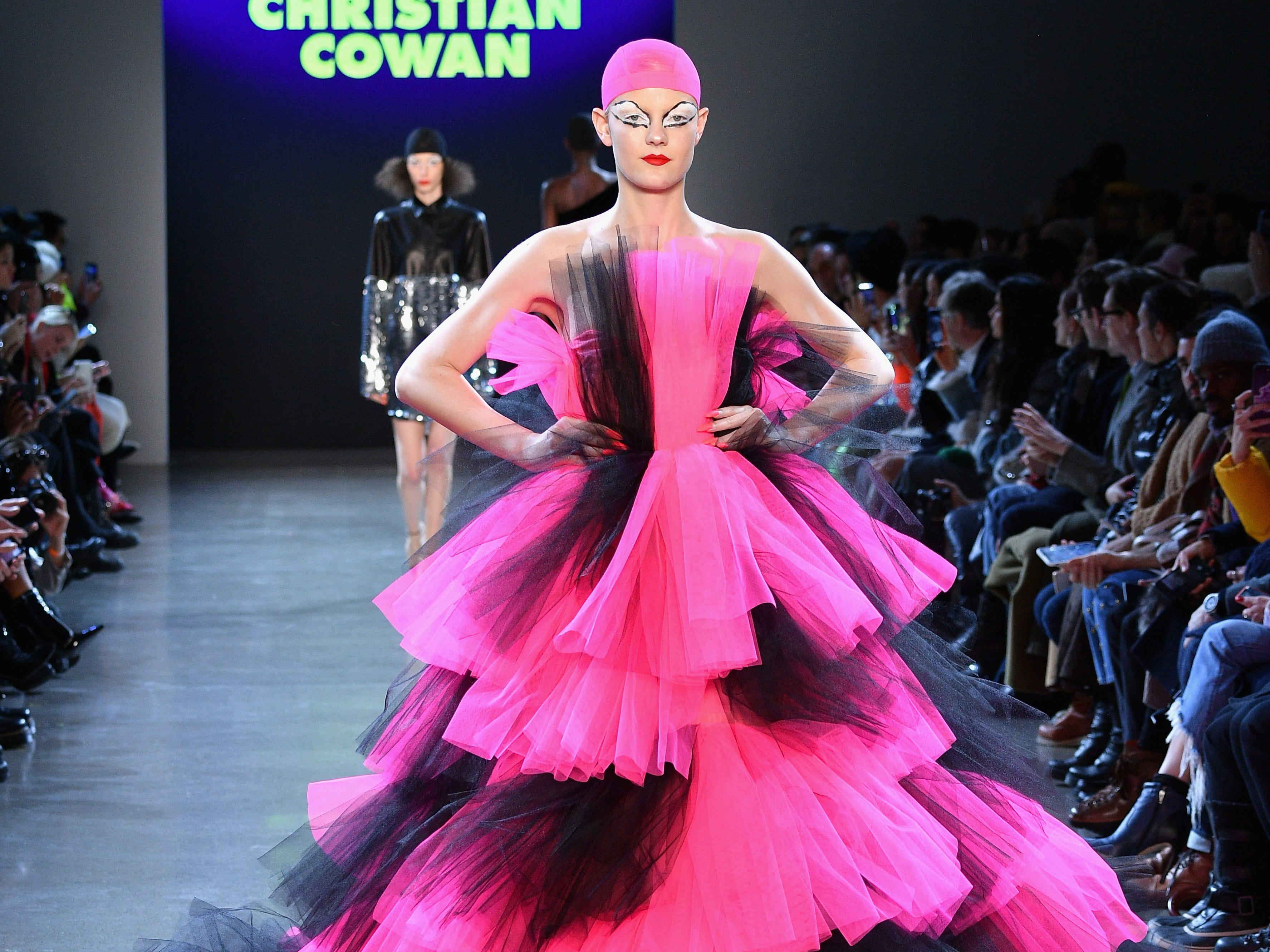 NEW YORK, NY - FEBRUARY 12:  A model walks the runway for the Christian Cowan fashion show during New York Fashion Week: The Shows at Gallery II at Spring Studios on February 12, 2019 in New York City.  (Photo by Dia Dipasupil/Getty Images for NYFW: The Shows) ORG XMIT: 775290958 ORIG FILE ID: 1124278370
