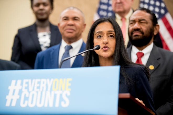 Leadership Conference For Civil And Human Rights President and CEO Vanita Gupta speaks at a news conference on Capitol Hill in Washington last year on the Trump administration's decision to add a new question on citizenship to the 2020 Census.