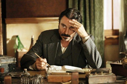 """Ian McShane, seen here as Al Swearengen in the HBO drama series """"Deadwood,"""" will be back more than a decade later in a follow-up film."""