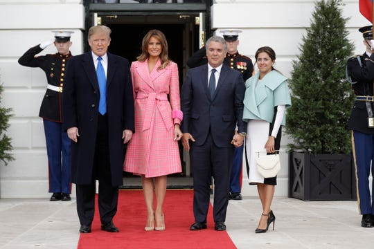 President Donald Trump and first lady Melania Trump welcome Colombian President Ivan Duque and his wife Maria Juliana Ruiz Sandoval to the White House.