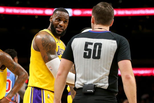 Lakers forward LeBron James had 28 points in the loss to the Hawks on Tuesday night.