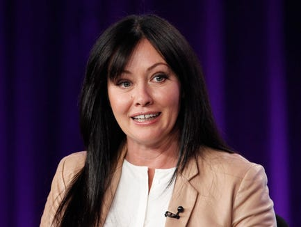 Shannen Doherty participates in a panel during the Television Critics Association Winter Press Tour on Jan. 14, 2012.
