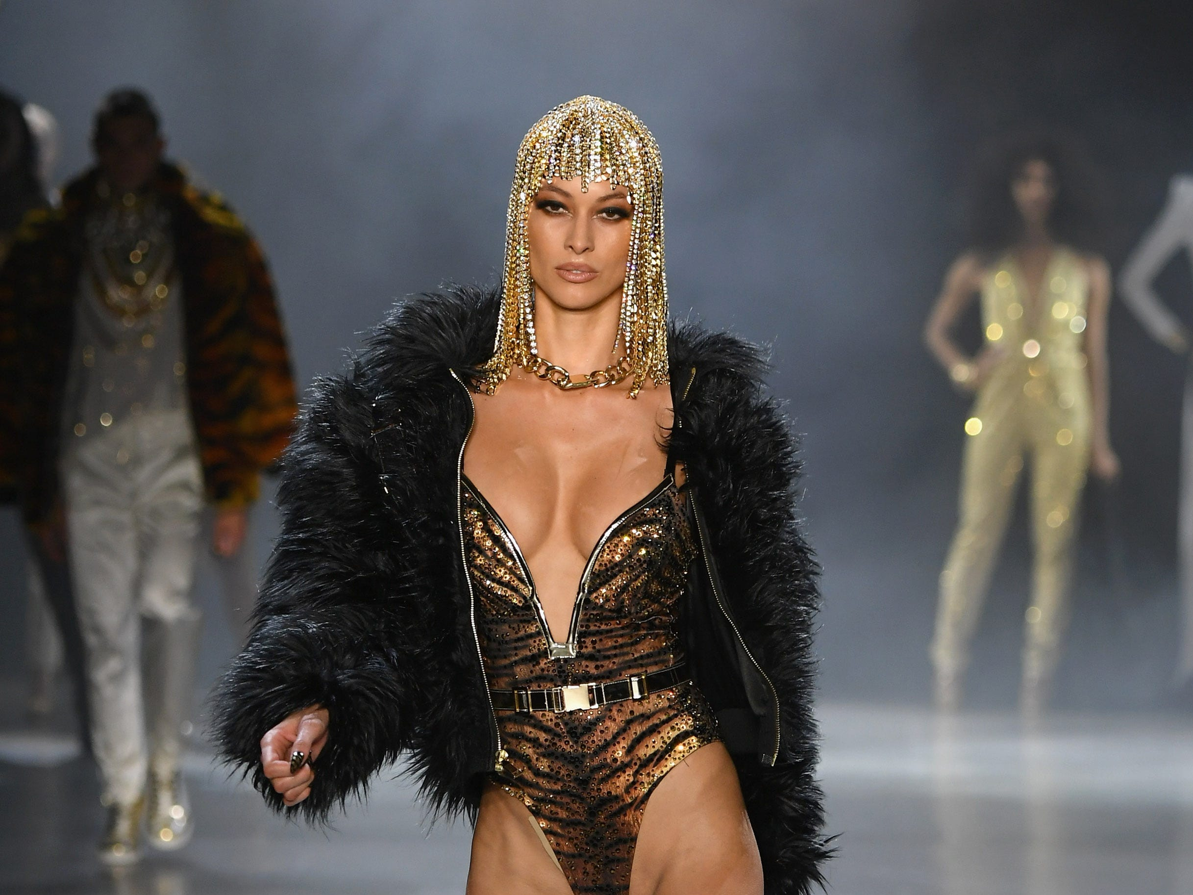 NEW YORK, NY - FEBRUARY 12:  A model walks the runway for The Blonds fashion show during New York Fashion Week: The Shows at Gallery I at Spring Studios on February 12, 2019 in New York City.  (Photo by Mike Coppola/Getty Images for NYFW: The Shows) ORG XMIT: 775290988 ORIG FILE ID: 1124523177