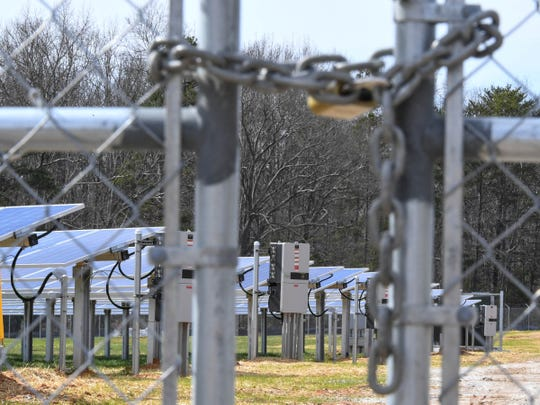 A lock and chain at the entrance to Southern Current's Whitt solar farm in Anderson County on Thursday, Feb. 14, 2019.