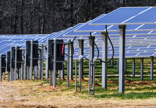 Solar panels are up and running at Southern Current's Whitt solar farm in Anderson County on Thursday, Feb. 14, 2019.