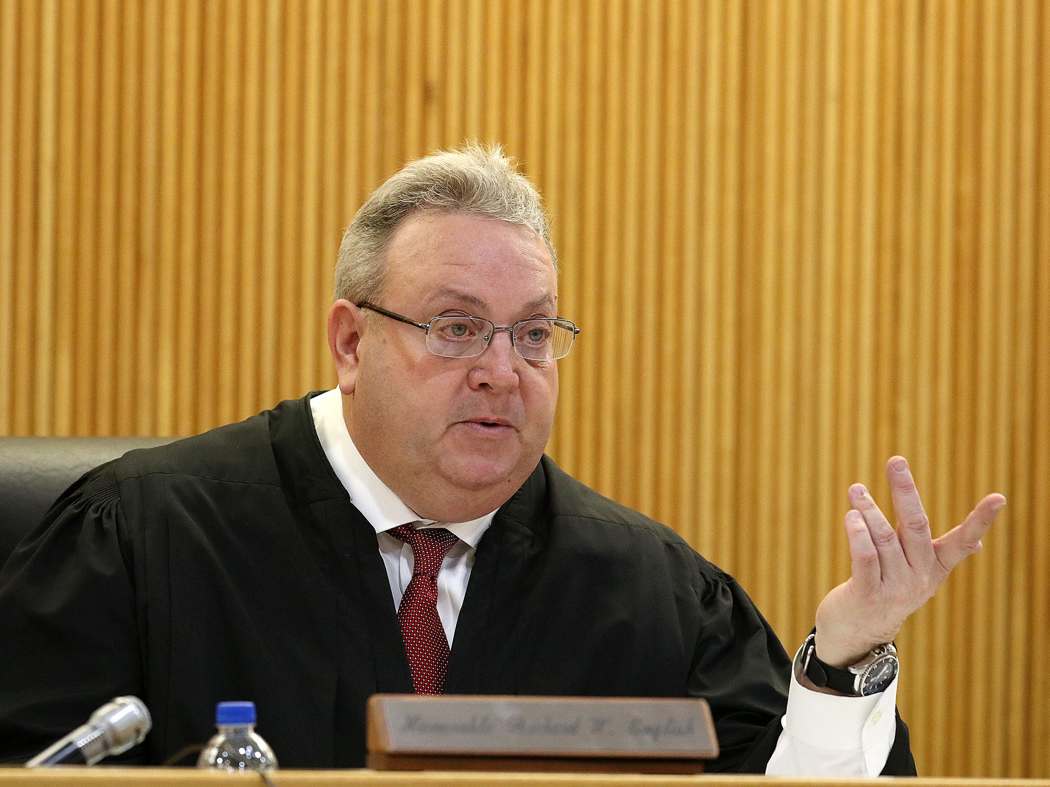 Superior Court Judge Richard W. English rejects a motion for a mistrial during the trial of Liam McAtasney, who is charged with the murder of former high school classmate, Sarah Stern, before Superior Court Judge Richard W. English at the Monmouth County Courthouse in Freehold, NJ Thursday, February 14, 2019. The judge was considering a motion from the defense for a mistrial after it was discovered that two jurors, who were later dismissed, were communicating on Facebook Messenger.