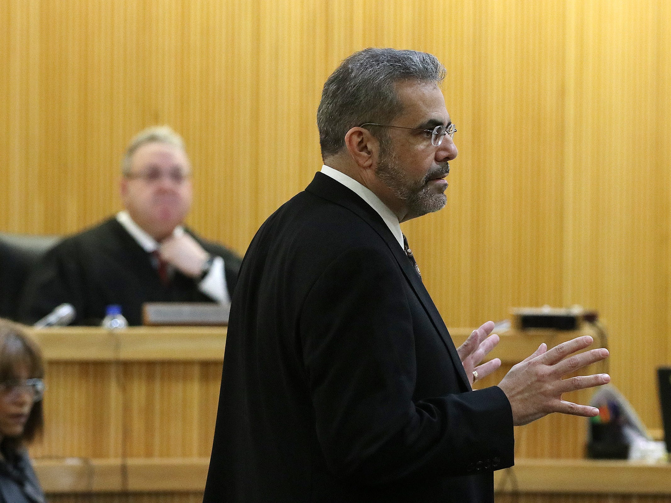Carlos Diaz-Cobo, defense attorney, argues his motion for a mistrial during the trial of Liam McAtasney, who is charged with the murder of former high school classmate, Sarah Stern, before Superior Court Judge Richard W. English at the Monmouth County Courthouse in Freehold, NJ Thursday, February 14, 2019. The judge was considering a motion from the defense for a mistrial after it was discovered that two jurors, who were later dismissed, were communicating on Facebook Messenger.