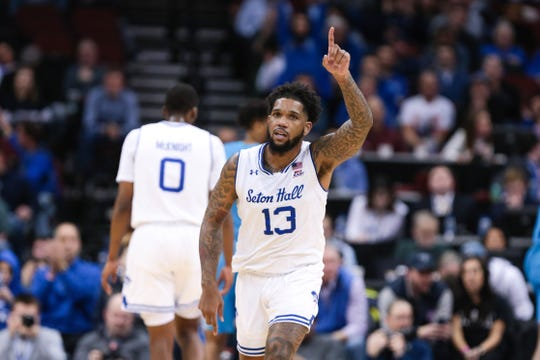 Seton Hall Pirates guard Myles Powell (13) celebrates after scoring a basket during the second half against the Georgetown Hoyas