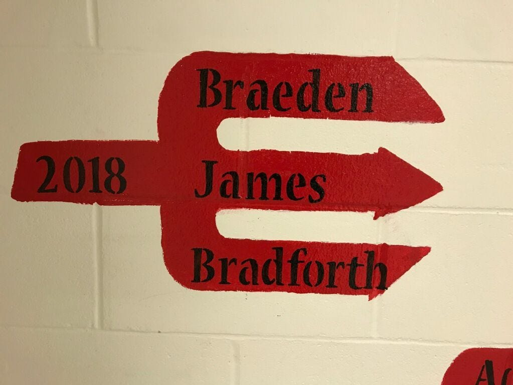 A tribute to Braeden Bradforth, who died after a football practice at Garden City (Kan.) Community College on Aug. 1, on the Trident Wall at Neptune High School.