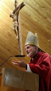 Bishop David O'Connell of the Trenton Diocese is shown during a Confirmation mass at the Church of St. Martha in Point Pleasant Borough on October 26, 2018.
