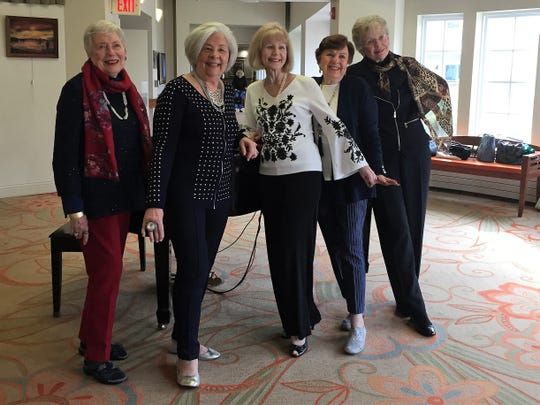 "Chic seniors at Applewood, an ""engaged living"" retirement community in Freehold: Pat Christiansen, 89, JoAnn Milazzo and Marjorie Zemek, both 77; Norma Rothstein, almost 91, and Jean Frailey, 80."