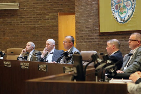 Jackson council members listen as Orthodox Jews ask them to pass a resolution formally denouncing Rise Up Ocean County. From left to right: Councilman Ken Bressi, Council Vice President Barry Calogero, Councilman Alex Sauickie, Councilman Andy Kern