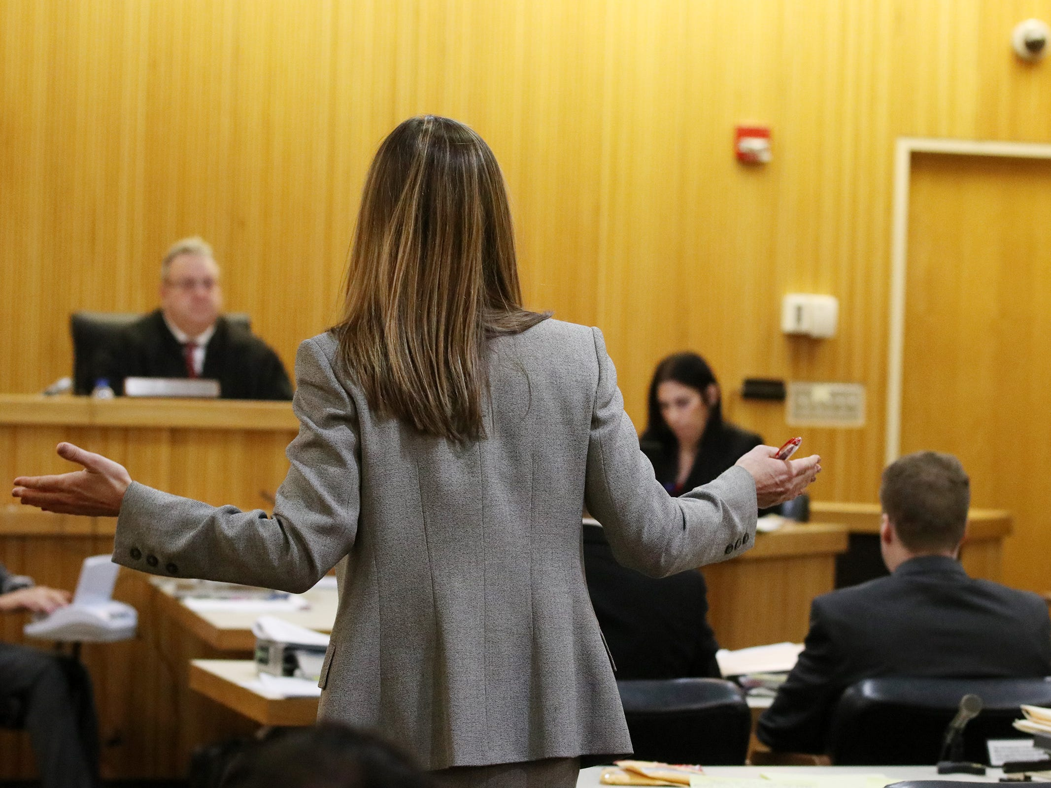 Meghan Doyle, assistant Monmouth County prosecutor, argued the state's to continue during the trial of Liam McAtasney, who is charged with the murder of former high school classmate, Sarah Stern, before Superior Court Judge Richard W. English at the Monmouth County Courthouse in Freehold, NJ Thursday, February 14, 2019. The judge was considering a motion from the defense for a mistrial after it was discovered that two jurors, who were later dismissed, were communicating on Facebook Messenger.