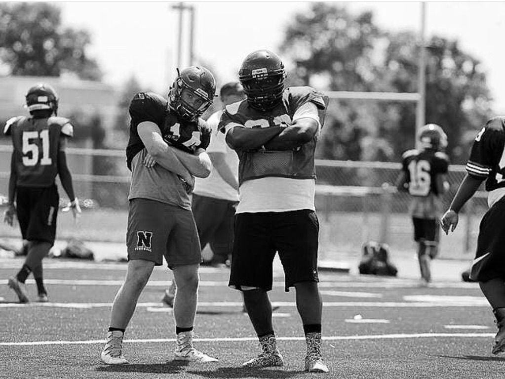 Bradeden Bradforth (right) and a Neptune High School teammate during a 2017 practice.