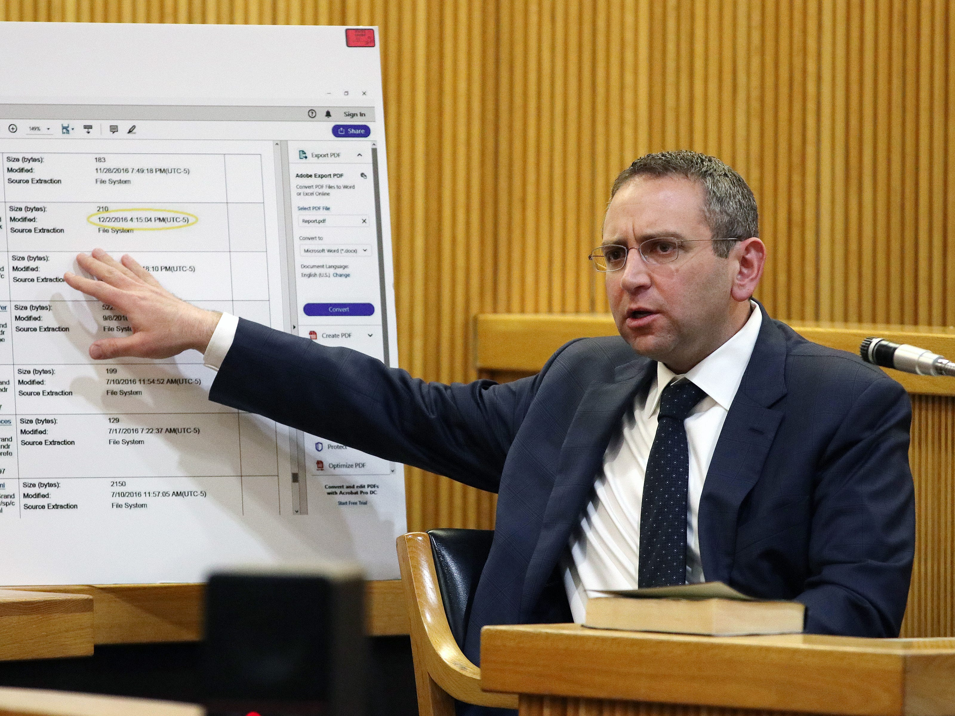 Detective Brian Weisbrot of the Monmouth County Prosecutor's Office, testifies during the trial of Liam McAtasney, who is charged with the murder of former high school classmate, Sarah Stern, before Superior Court Judge Richard W. English at the Monmouth County Courthouse in Freehold, NJ Thursday, February 14, 2019.