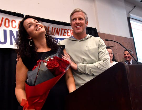 Talmadge and Sara Trammell give their thanks after they both won the United Way Volunteer Service Award. The organization held its annual luncheon at the Abilene Convention Center on Thursday.