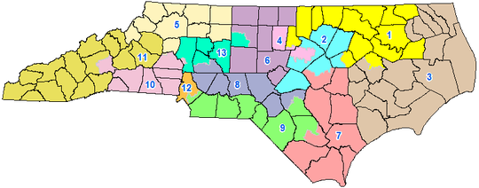 A map of North Carolina's congressional districts