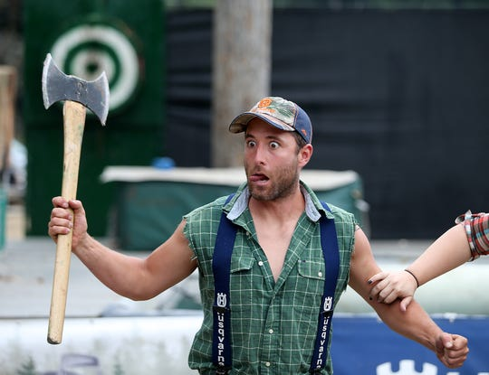 Scott Thompson performs in the West Coast Lumberjack Show at the Kitsap County Fair & Stampede in August.